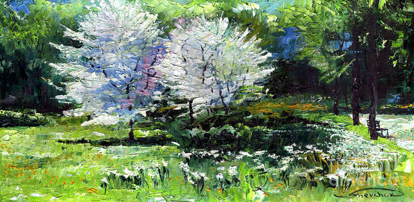 Oil Poster featuring the painting Germany Baden-baden Spring 2 by Yuriy Shevchuk