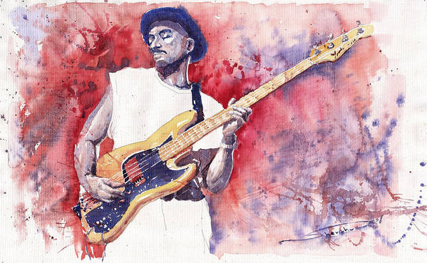 Jazz Poster featuring the painting Jazz Guitarist Marcus Miller Red by Yuriy Shevchuk