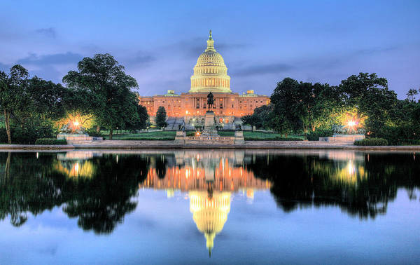 Washington Dc Capitol Capital Us Senate Congress House Of Representatives Dome Patriotic Poster featuring the photograph A Nation Awakens by JC Findley