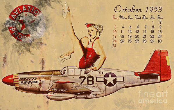 Pin Up Art Poster featuring the digital art Aviation 1953 by Cinema Photography