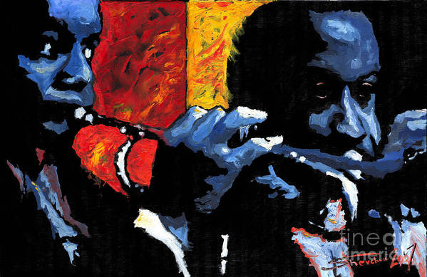 Jazz Poster featuring the painting Jazz Trumpeters by Yuriy Shevchuk