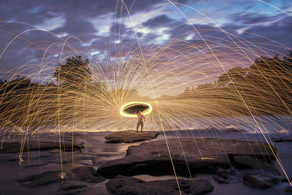 Steel Wool Poster featuring the photograph Halo On The American River by Lee Harland