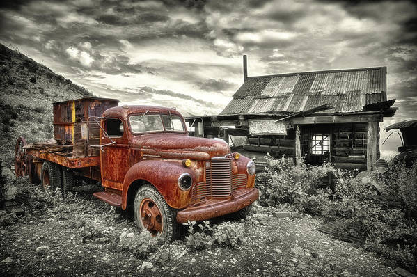 Old Poster featuring the photograph Ghost Town Truck by Robert Jensen