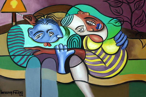 Couple In Love Poster featuring the painting Tender Moments by Anthony Falbo