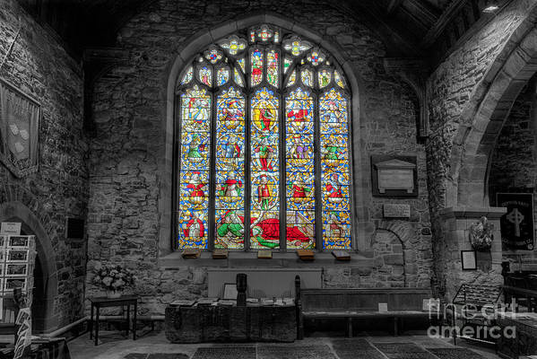 Architecture Poster featuring the photograph St Dyfnog Window by Adrian Evans