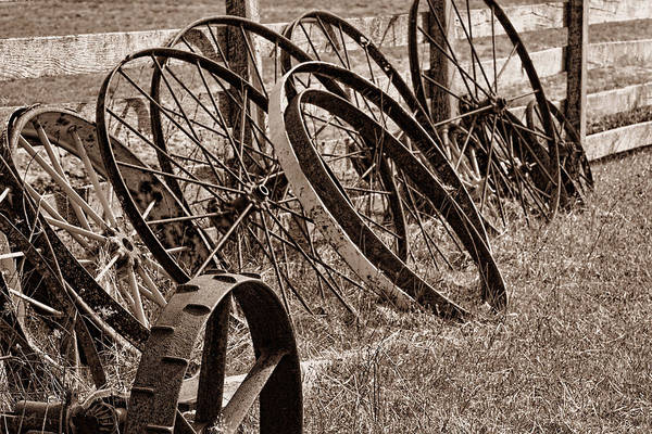 Wheel Poster featuring the photograph Antique Wagon Wheels II by Tom Mc Nemar