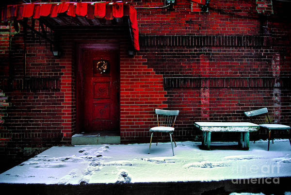 Awning Poster featuring the photograph The Red Door by Amy Cicconi