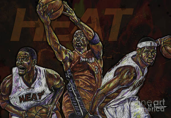 Chris Bosh Poster featuring the drawing Three Headed Monster by Maria Arango