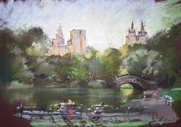 Ny City Poster featuring the pastel Nyc Resting In Central Park by Ylli Haruni