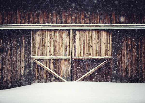 Barn Poster featuring the photograph The Barn In Winter by Lisa Russo