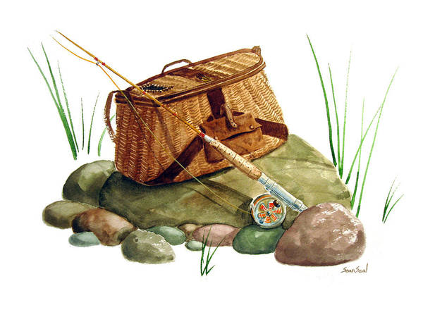 Fishing Poster featuring the painting Fishing Creel Bamboo Fly Rod by Sean Seal