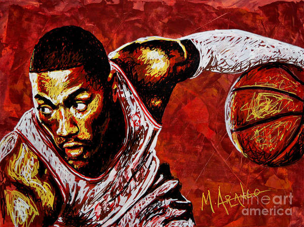 Derrick Rose Poster featuring the painting Derrick Rose by Maria Arango