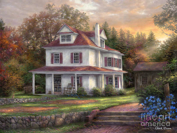 Sunrise Picture Poster featuring the painting Stone Terrace Farm by Chuck Pinson