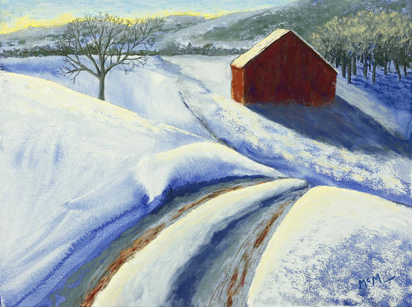 Red Barn Poster featuring the painting Winter Blues by Garry McMichael