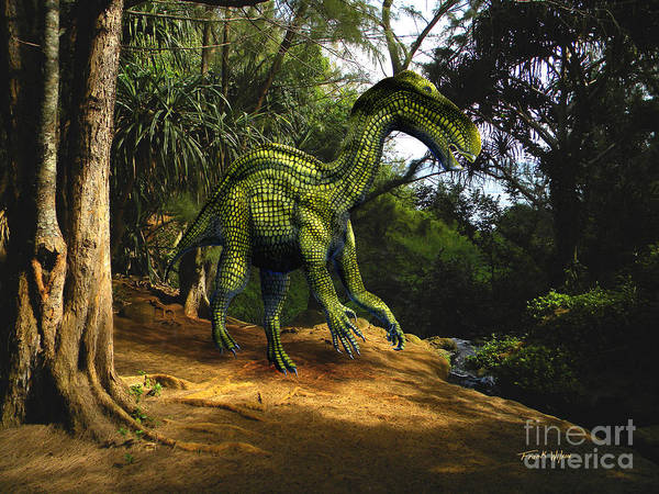Dinosaur Art Poster featuring the mixed media Iguanodon In The Jungle by Frank Wilson