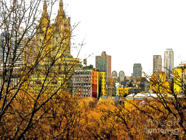 Landscapes Poster featuring the photograph Urban Autumn In Nyc by Linda Parker