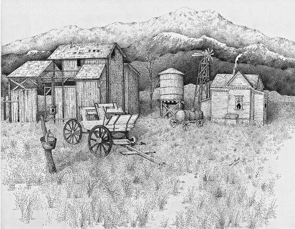 Pen And Ink Old Farm Drawing Poster featuring the drawing Abandoned Old Farmhouse And Barn by Tammie Temple