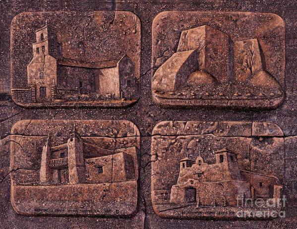 Churches Poster featuring the relief New Mexico Churches by Ricardo Chavez-Mendez