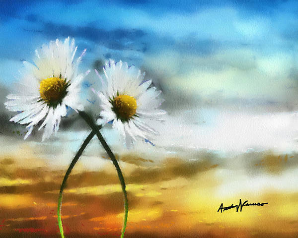 Daisy Poster featuring the painting Daisies In Love by Anthony Caruso
