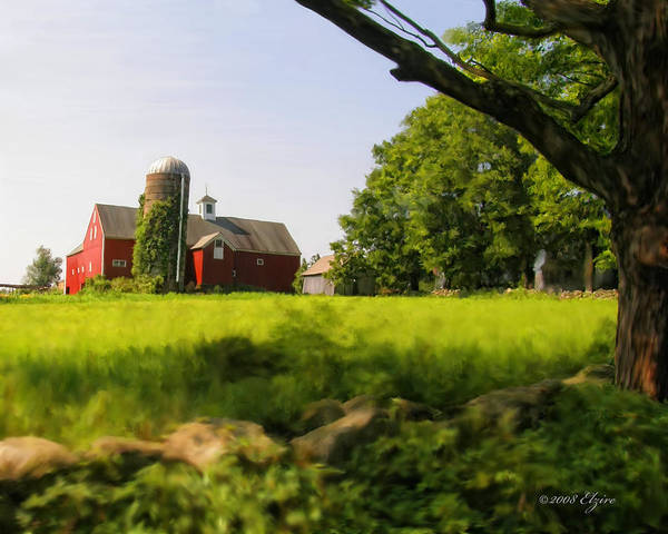 Farm Poster featuring the painting Old New England Farm by Elzire S