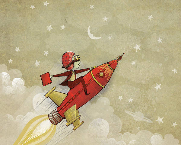 Rocket Poster featuring the digital art Rockship by Dennis Wunsch