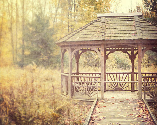 Gazebo Poster featuring the photograph The Gazebo In The Woods by Lisa Russo