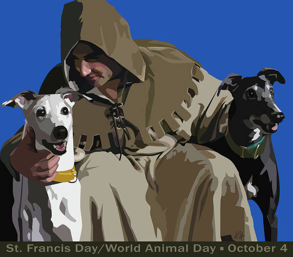 St. Francis With Greyhounds Poster featuring the digital art St. Francis With Two Greyhounds by Kris Hackleman