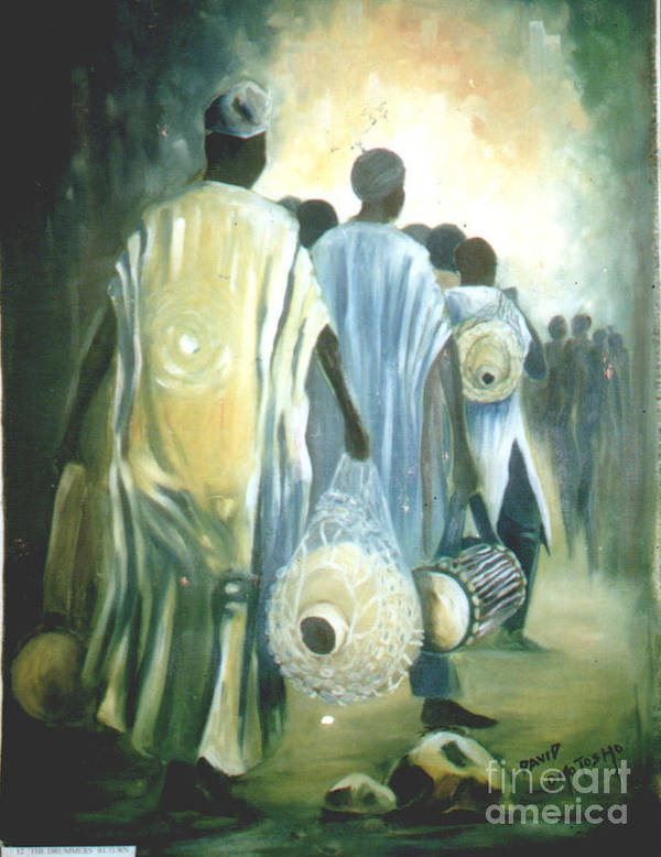African Culture Green Painting Poster featuring the painting Drummers' Return by David Omotosho