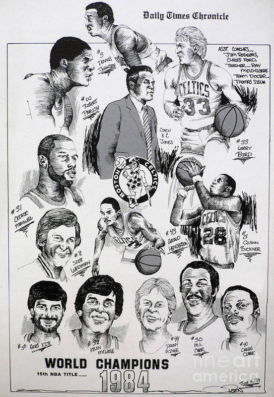 Nba Poster featuring the drawing 1984 Boston Celtics Championship Newspaper Poster by Dave Olsen