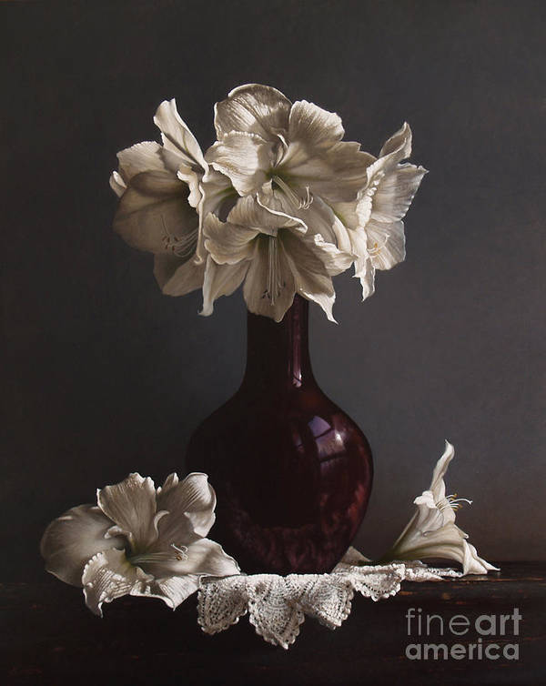 Still Life Poster featuring the painting Amaryllis by Larry Preston