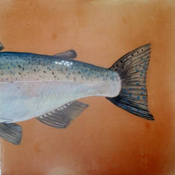 Fish Poster featuring the ceramic art Salmon 2 by Andrew Drozdowicz