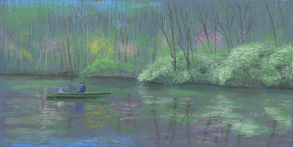 Fishing Poster featuring the pastel Rite Of Spring by Garry McMichael