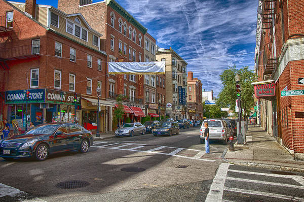 Boston Poster featuring the photograph Hanover St. by Joann Vitali