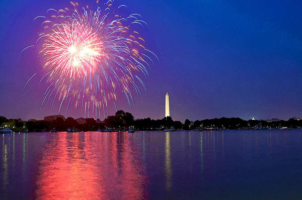 Washington Dc Poster featuring the digital art Fireworks Across The Potomac by Steven Barrows