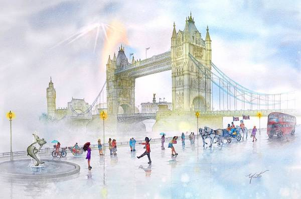 England Canvas Image Prints Poster featuring the painting Memories Of London Bridge England by John YATO