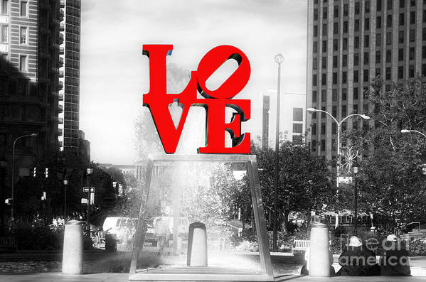 Love Statue Poster featuring the photograph Philadelphia Love Fusion by John Rizzuto