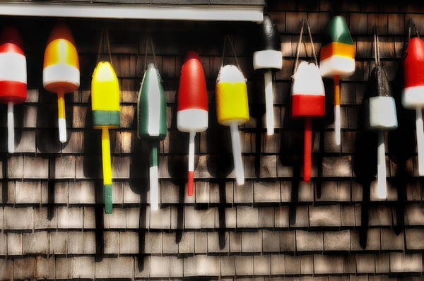 Fishing Gear Poster featuring the photograph 11 Buoys In A Row by Thomas Schoeller