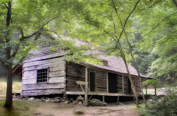 Rustic Poster featuring the photograph Ogle Homestead - Smoky Mountain Rustic Cabin by Thomas Schoeller