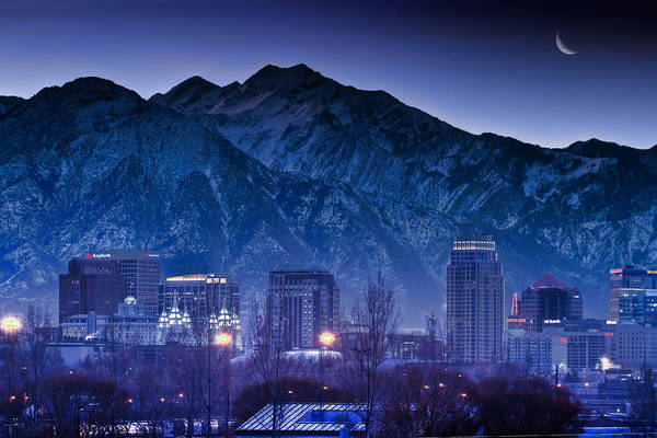 Salt Poster featuring the photograph Salt Lake City Utah Skyline by Utah Images