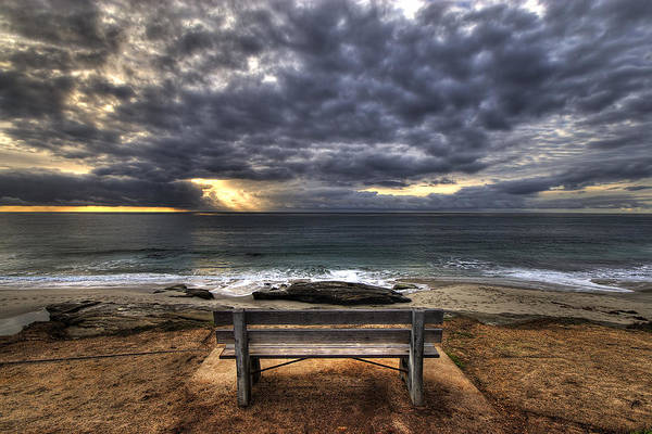 Ocean Poster featuring the photograph The Bench by Peter Tellone