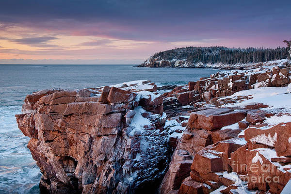 Acadia National Park Poster featuring the photograph Acadian Cliffs Winter Sunrise 1 by Susan Cole Kelly
