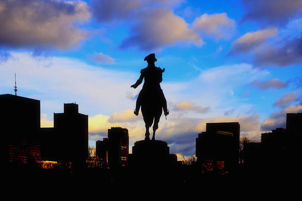 Boston Poster featuring the photograph George Washington Statue Sunset - Boston by Joann Vitali