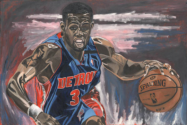 Rodney Stuckey Detroit Pistons Nba Basketball David Courson Sports Paintining Poster featuring the painting Taking The Point by David Courson