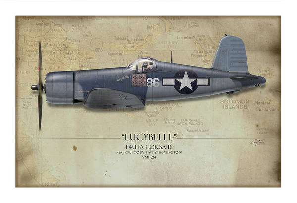 Aviation Poster featuring the painting Pappy Boyington F4u Corsair - Map Background by Craig Tinder