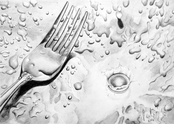 Fork Poster featuring the painting Fork And Drops by Eleonora Perlic