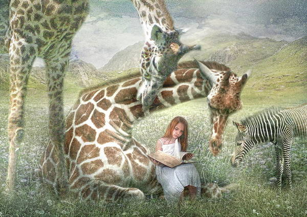 Giraffe Poster featuring the digital art The Reading Room by Trudi Simmonds