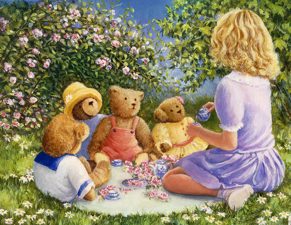 Teddy Bears Poster featuring the painting Afternoon Tea by Susan Rinehart