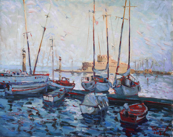 Boats Poster featuring the painting Boats In Rhodes Greece by Ylli Haruni