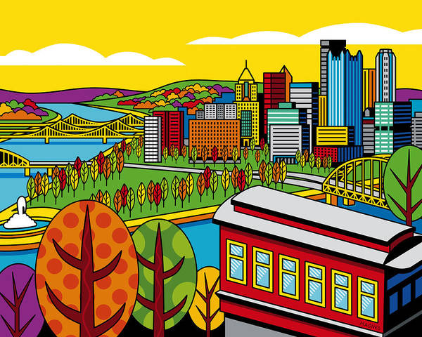 Pittsburgh Poster featuring the digital art Fall From Above by Ron Magnes