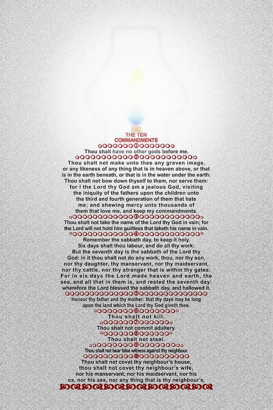 The Ten Commandments Poster featuring the digital art The Ten Commandments by Emanuel Asante Jr